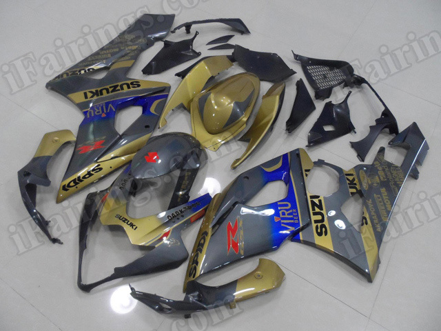 Motorcycle fairings/body kits for 2005 2006 Suzuki GSXR 1000 gold and grey VIRU graphic.