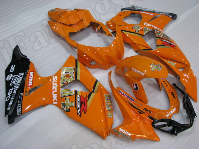 Motorcycle fairings/body kits for 2009 to 2014 Suzuki GSXR1000 orange and black.