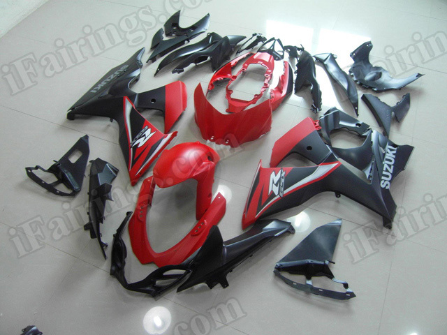 Motorcycle fairings/body kits for 2009 to 2014 Suzuki GSXR1000 red and black.