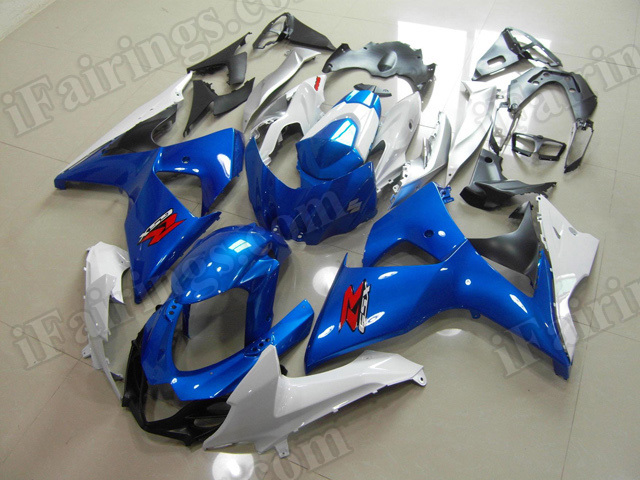 Motorcycle fairings/body kits for 2009 to 2014 Suzuki GSXR1000 blue and white scheme.