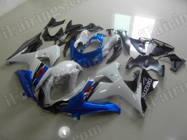 Motorcycle fairings/body kits for 2009 to 2014 Suzuki GSXR1000 white, blue and black.
