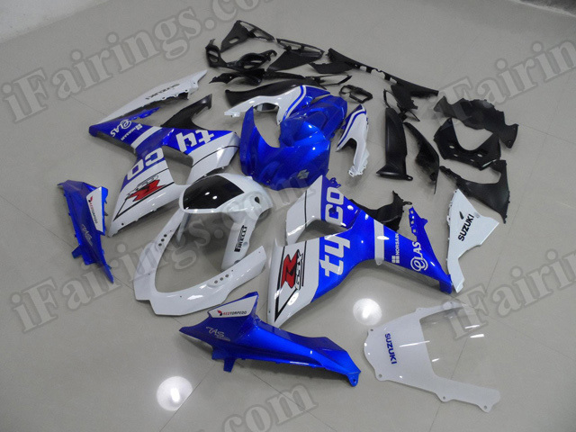 Motorcycle fairings/body kits for 2009 to 2014 Suzuki GSXR1000 blue and white.