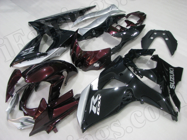Motorcycle fairings/body kits for 2009 to 2014 Suzuki GSXR1000 dard red and black.