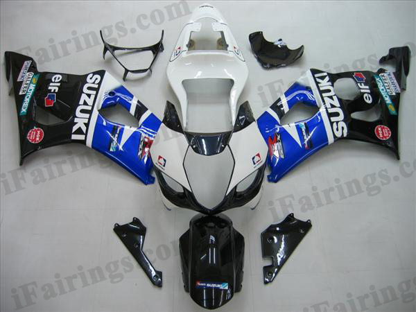 Replacement fairing kits for 2003 2004 GSXR1000 white/blue/black