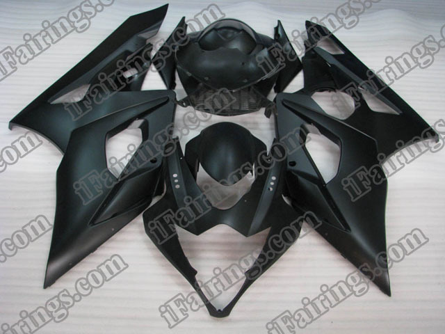 Replacement fairings for 2005 2006 GSXR1000 matt/flat black graphic.