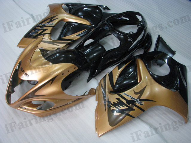 Suzuki GSXR1300 Hayabusa 2008 to 2017 gold and black fairing kits.