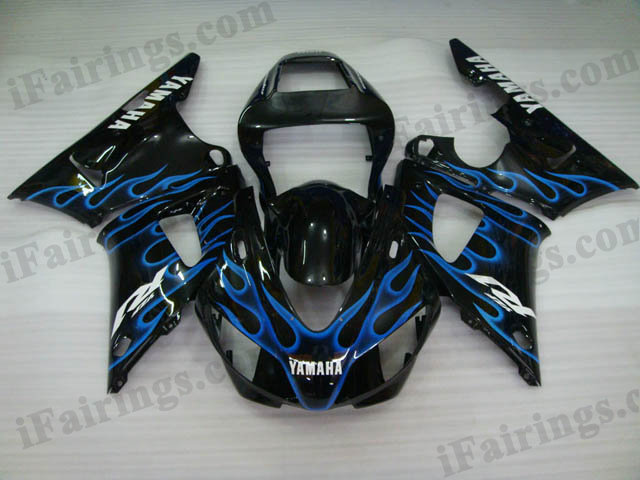 1998 1999 YZF R1 black and blue flame fairings.