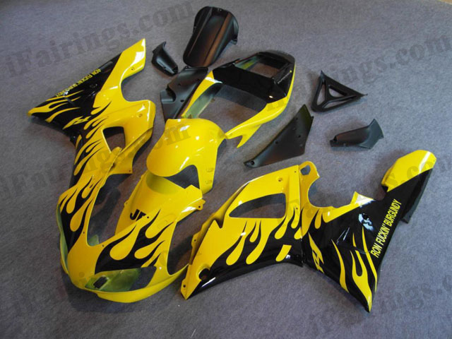 1998 1999 YZF-R1 yellow and black flame fairings