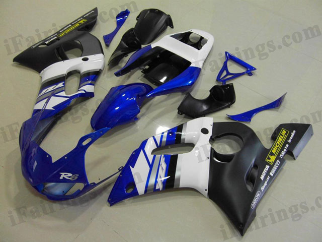 1999 to 2002 YZF R6 candy blue and black fairing kits