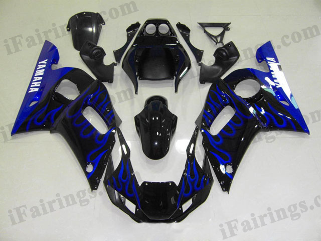 1999 to 2002 YZF R6 black and blue flame fairing kits