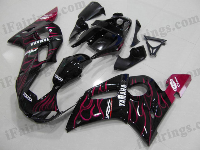 1999 to 2002 YZF R6 black and pink flame fairings