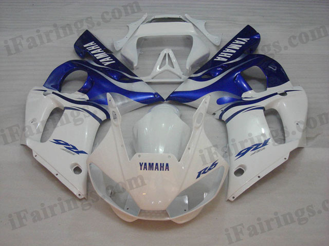 1999 to 2002 YZF R6 white and blue fairing kits