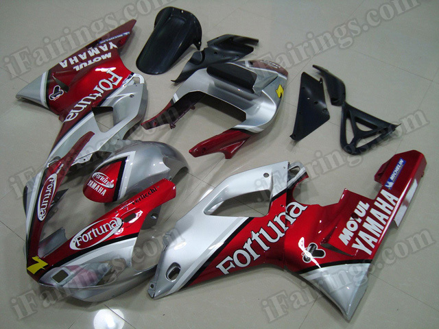 2000 2001 Yamaha YZF-R1 red and silver Fortuna fairing kits.