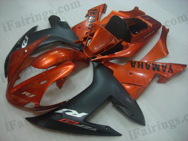 2002 2003 Yamaha YZF-R1 orange and black fairing kits.