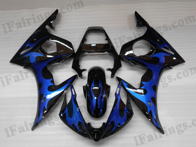 2003 2004 2005 Yamaha YZF-R6 black and blue flame fairing kits.