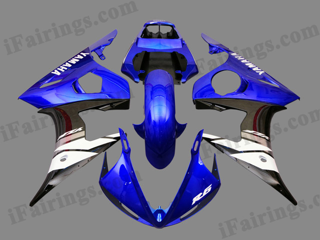 2003 2004 2005 Yamaha YZF-R6 blue and black fairing kits.