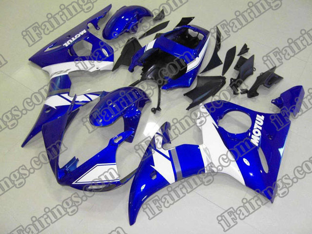 2003 2004 2005 YZF R6 candy blue and white fairing kits