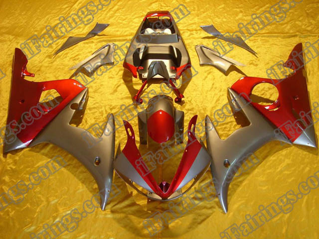 2003 2004 2005 YZF R6 silver and red fairing kits