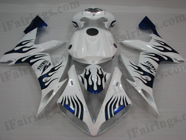 2004 2005 2006 Yamaha YZF-R1 white and blue flame fairing kits.