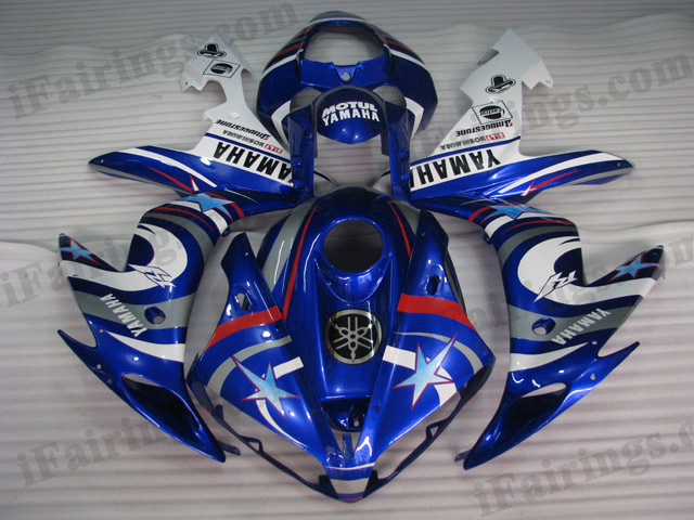 2004 2005 2006 Yamaha YZF-R1 blue fiat star fairing kits.