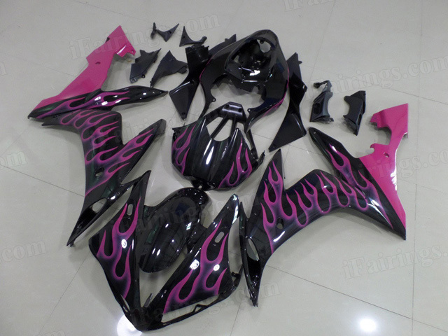 2004 2005 2006 Yamaha YZF R1 black fairing kits with pink ghost flame.
