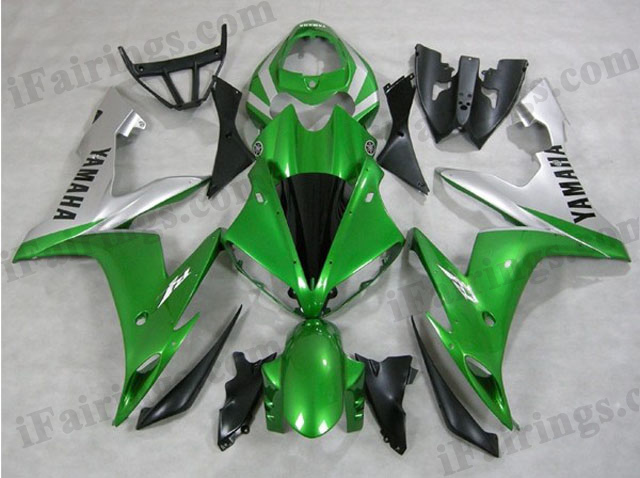 2004 2005 2006 YZF-R1 green and silver fairings