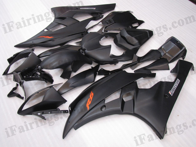 2006 2007 Yamaha YZF-R6 matt black fairing kits.