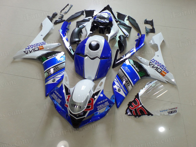 2007 2008 Yamaha YZF R1 blue and black graphic fairing kits.