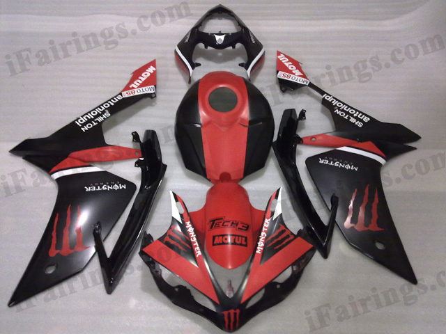 2007 2008 Yamaha YZF-R1 red and black monster fairing kits.