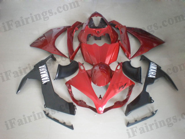 2007 2008 YZF R1 candy red and black fairing kits
