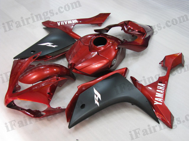 2007 2008 YZF R1 dark red and black fairing kits