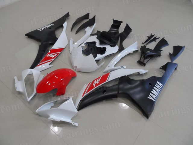 2008 to 2015 Yamaha YZF R6 red/white/black fairing kits.