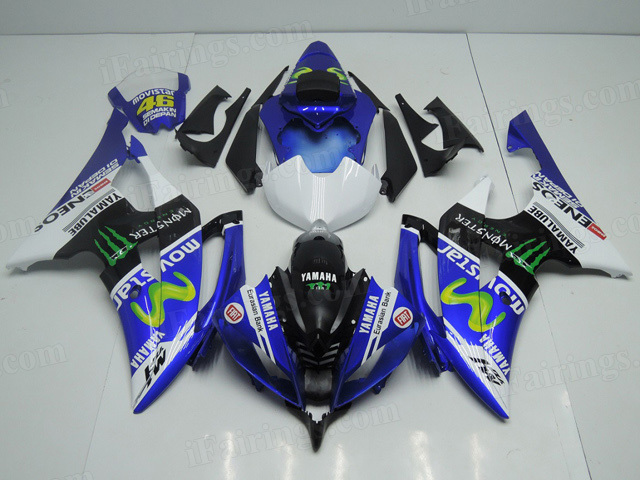 2008 to 2015 Yamaha YZF R6 Movistar graphic fairings.