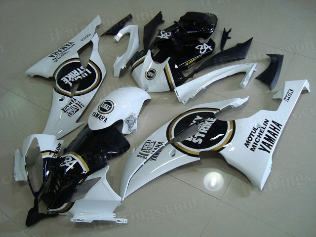 2008 to 2015 Yamaha YZF R6 white and black lucky strike fairing kits.