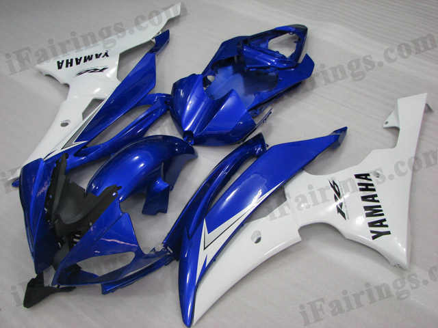 2008 to 2015 Yamaha YZF-R6 blue and white fairing kits.