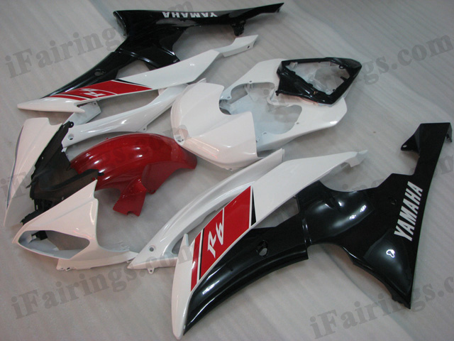 2008 to 2015 Yamaha YZF-R6 red, white and black fairing kits.