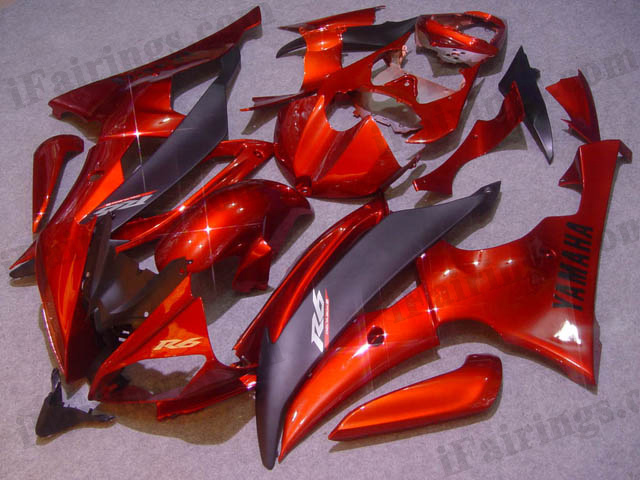 2008 to 2015 YZF R6 candy red and black fairings