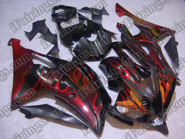 2008 to 2015 YZF R6 red flame fairings