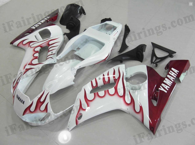 2009 2010 2011 Yamaha YZF-R1 white and red flame fairing kits.
