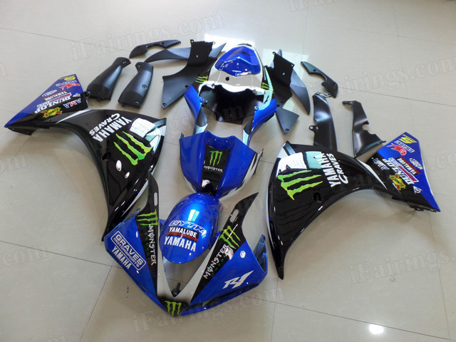 2009 2010 2011 Yamaha YZF R1 blue and black monster graphic fairing kits.