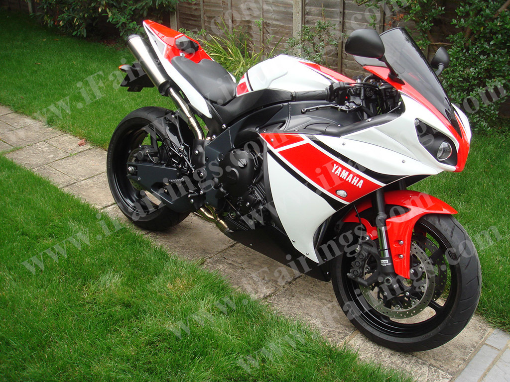 2009 2010 2011 Yamaha YZF-R1 red, white and black fairing kits.