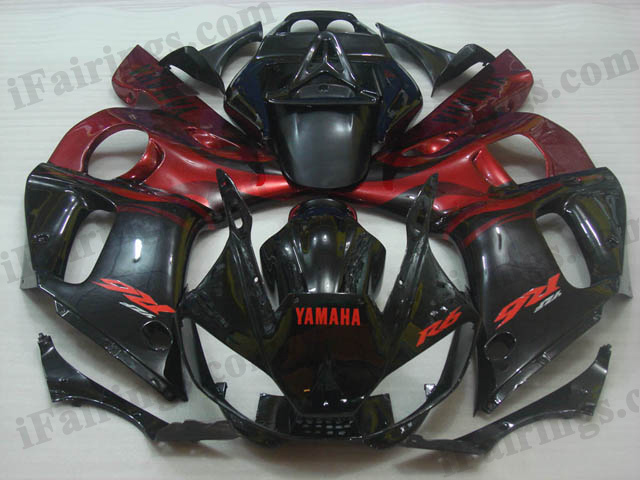 aftermarket fairings for 1999 to 2002 YZF R6 red and black flame graphics.