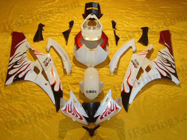Aftermarket fairing kits for 2006 2007 YZF R6 white/red flame scheme.