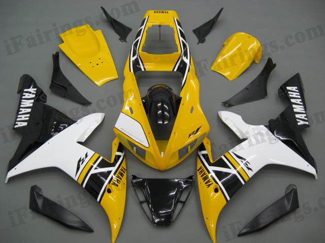 aftermarket fairings for 2002 2003 YZF R1 50th anniversary graphic.