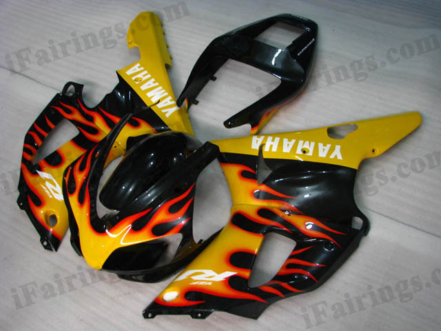 Custom fairing kits for 1998 1999 YZF R1 black and yellow flame scheme.