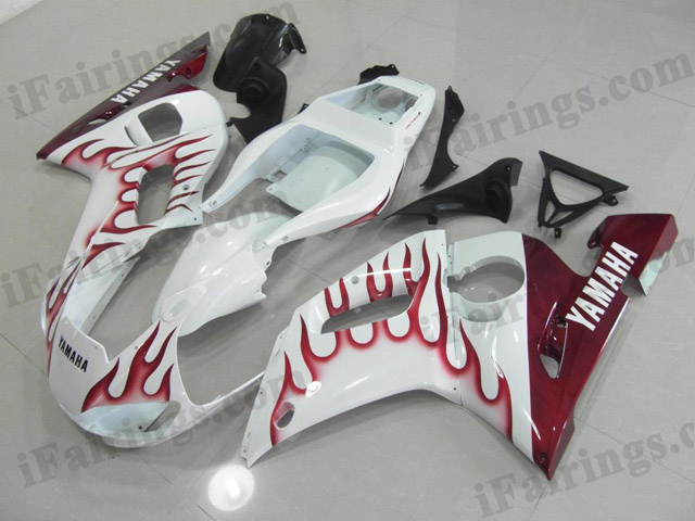 Custom fairings for 1999 to 2002 YZF R6 white/red flame scheme.