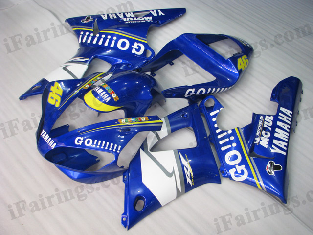 Custom fairings for 2000 2001 Yamaha YZF R1 blue GO!!! stickers.