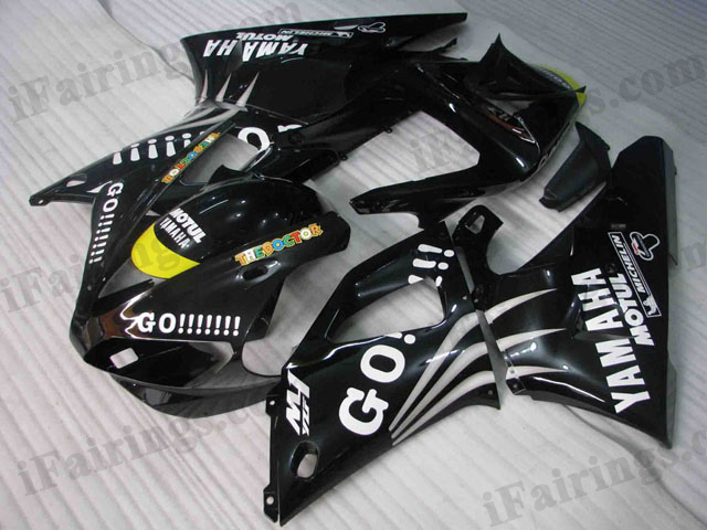 Custom fairings for 2000 2001 YZF R1 black GO!!! decals.