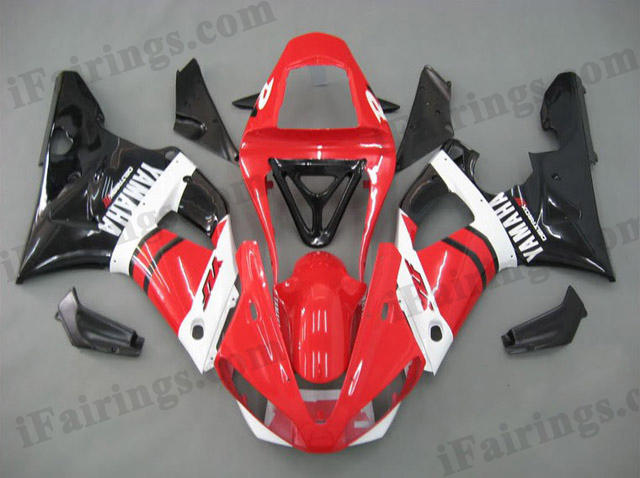 Custom fairings for 2000 2001 YZF R1 red and glossy black scheme.