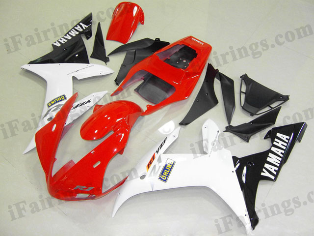 Custom fairings for 2002 2003 YZF R1 red/white/black scheme.
